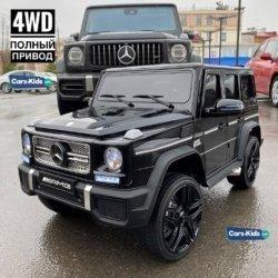 Электромобиль Mercedes-Benz G65 AMG 4WD черный глянцевый (полный привод, АКБ 12v 10ah, колеса резина, сиденье кожа, пульт, музыка)